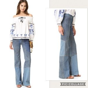 NWT Free People Alissa's Patchwork Flare Jeans